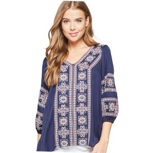 NWT Andree by Unit Bohemian Embroidered Blouse.